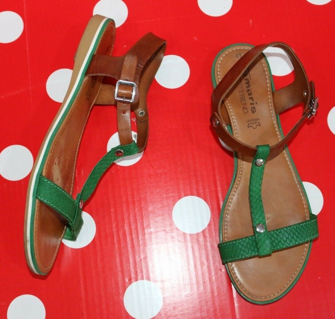 TAMARIS 10 sz eu 41 us 10 TAMARIS leather flat sandal shoes women Brown/green 4761a1