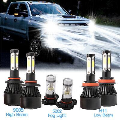 6x 9005 H11 LED Headlight Bulb+5202 H16 Fog Light for 07-15 Chevy Silverado 1500