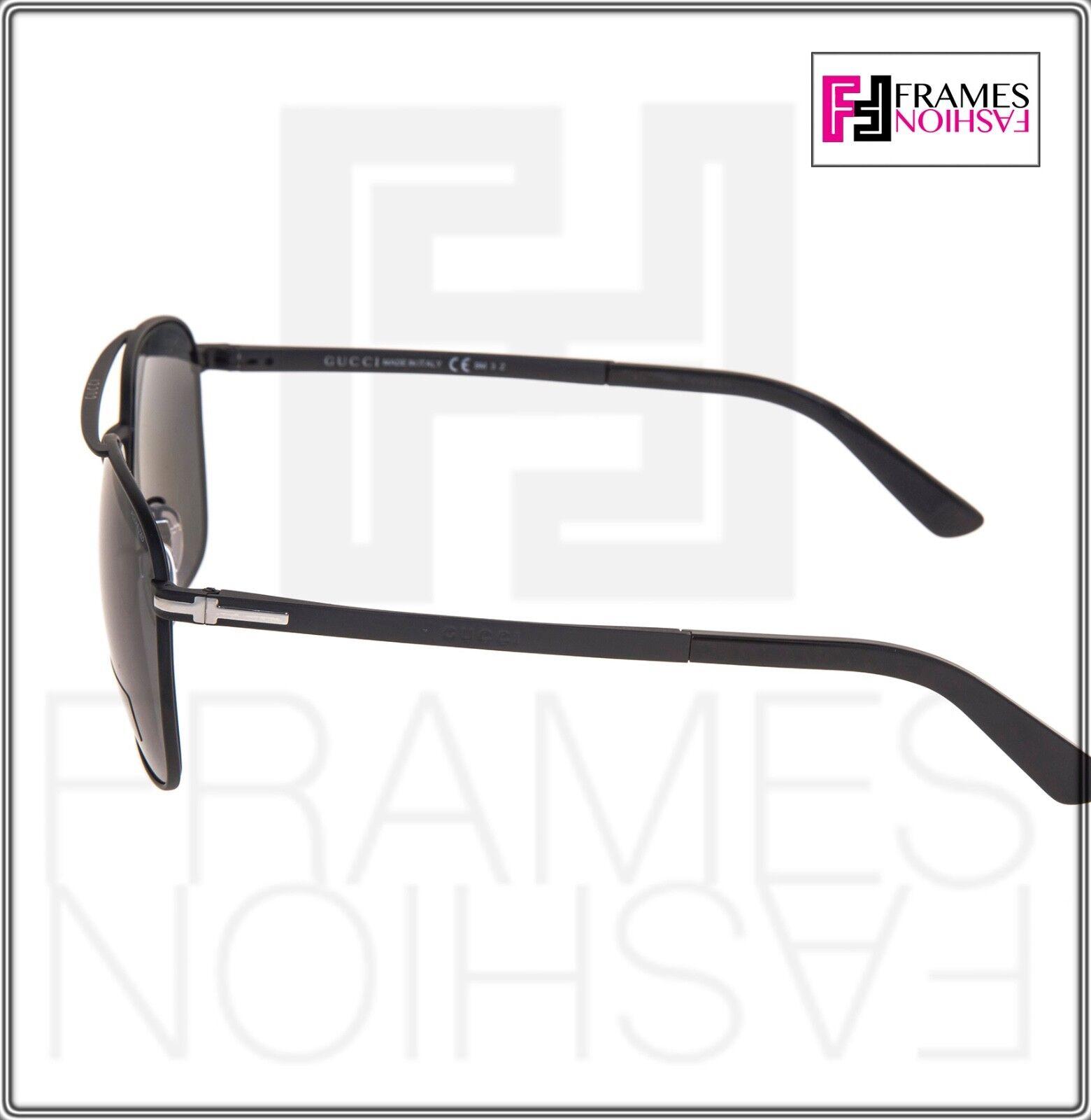 92bb66b3cc Gucci Square Gg2270fs Matte Black Steel Polarized Sunglasses Special ...