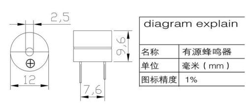 10PCS 24 V Active Buzzer Magnétique Longue Continu Bip Bip Alarme Sonnerie 12 mm