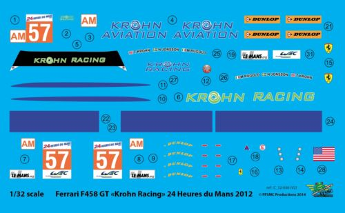 """LM 2012 FFSMC Productions Decals 1//32 Ferrari F-458 GT /""""Krohn Racing/"""""""