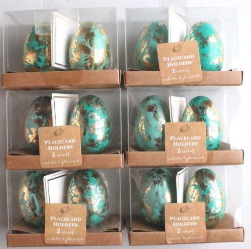 NEW Dozen Decorative Easter Table Blue//Teal Gold Foil Egg Place Card Holders NIB