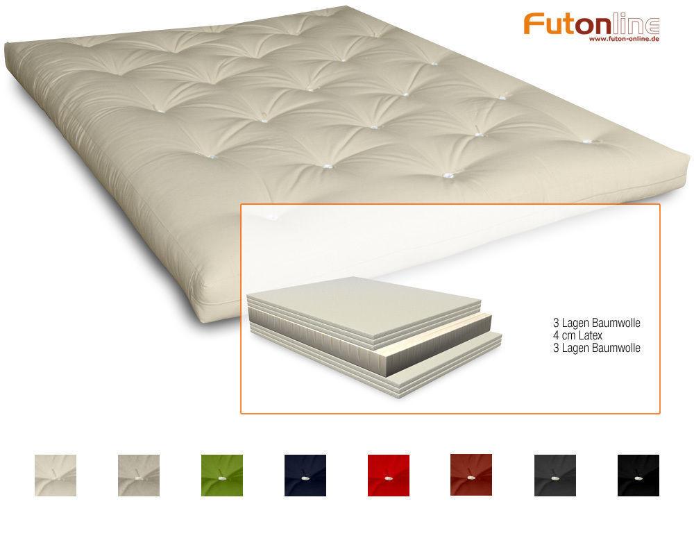 Futon Comfort Japan Futonmatratze Matratze mit 6 Lagen Baumwolle & 4 cm Latex