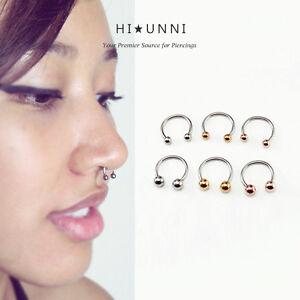 Image Is Loading 16g Horseshoe Ring Septum Rings Tragus Cartilage Earring