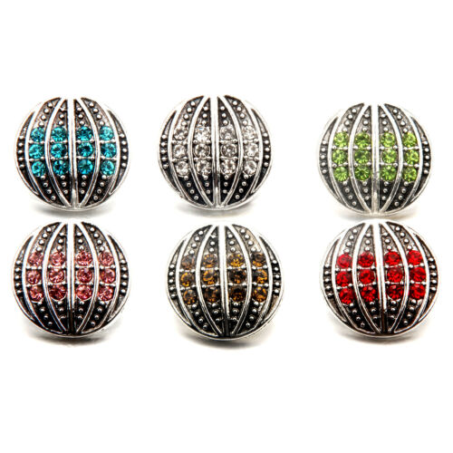 Vintage Silver Round Rhinestone Snaps Buttons Charms Fit 18mm Snap Jewelry c