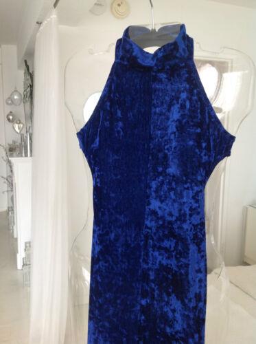 Royal Blue Crushed Velvet Sleeveless Halter Jumpsu