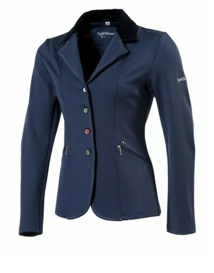 Nieuwe Equi-theme Ladies blauw Multi Colour Buttons Soft Shell Show Jasje afmeting 8 UK
