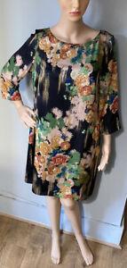 Monsoon Imprimé Floral Soie Style Shift Robe Royaume-Uni Taille 12 Multicolore BNWT