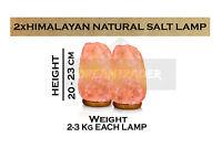2 x HIMALAYAN PINK SALT ROCK CRYSTAL LAMP 2-3 KG NATURAL HEALING IONIZING LAMPS