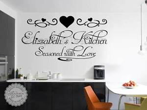 Image Is Loading Personalised Kitchen Wall Sticker Seasoned With Love Family