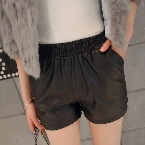 femmes simili cuir short effet mouillé MOTARD court taille élastique pantalon