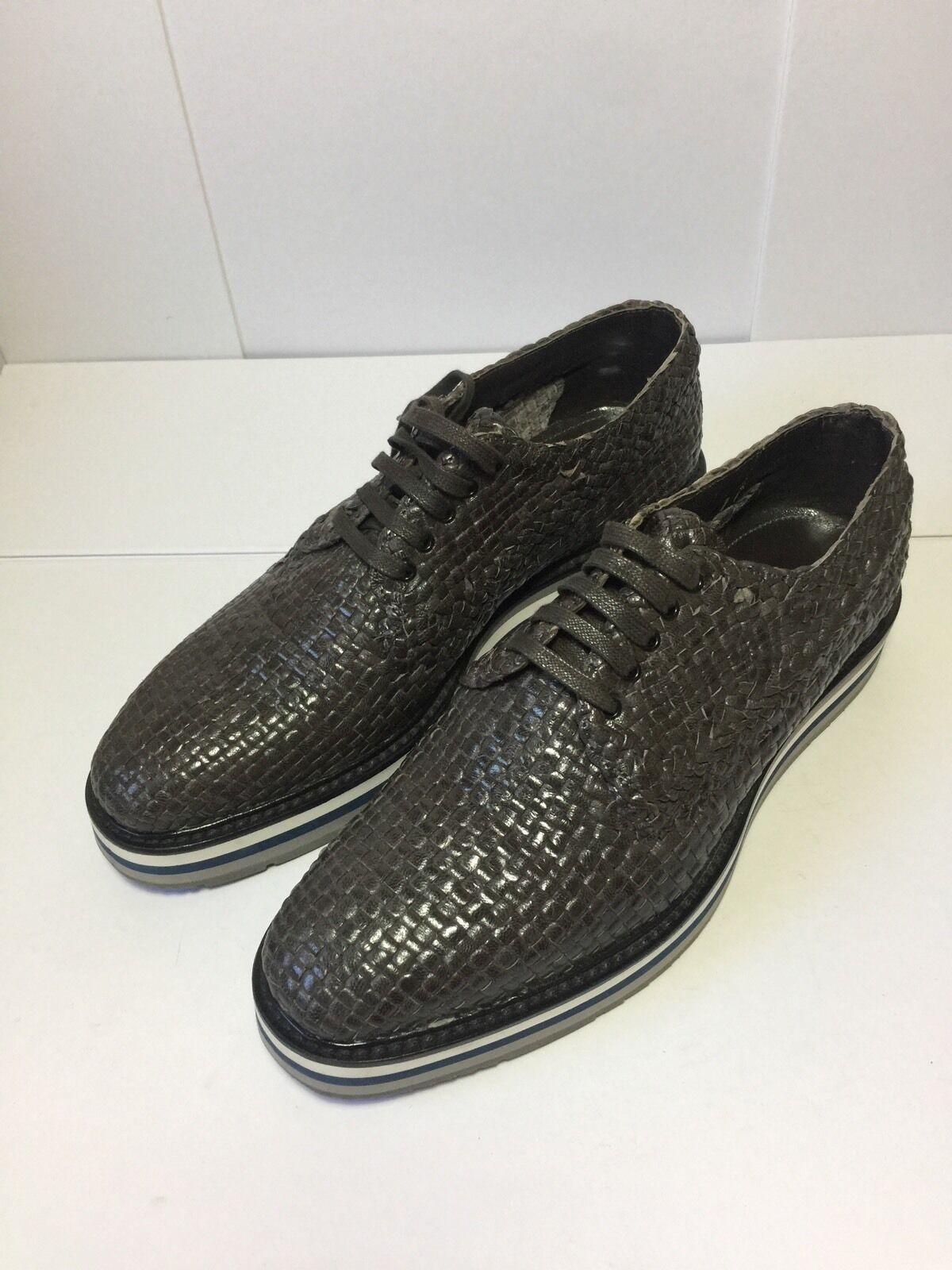 =RARE= PRADA Men's Brown Woven Leather Intrecciato Oxfords Platform shoes US 8