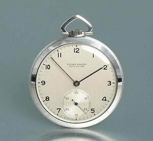 Feine-Ulysse-Nardin-Art-Deco-Stahl-Frackuhr-Taschenuhr-um-1930-montre-de-poche