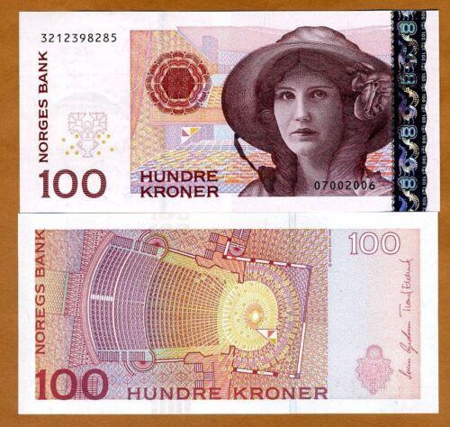 P-49 100 Kroner Norway 49c UNC /> Woman in a hat 2006