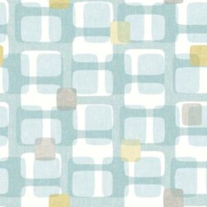 Arthouse Teal Grey Yellow Retro Block Pattern Wallpaper Vintage
