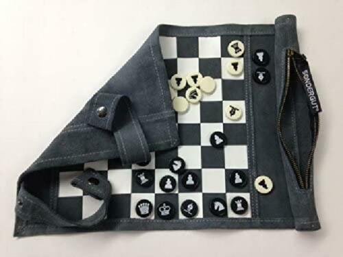 Chess//C Inc Genuine Leather Roll-Up Travel Game Pitkin Stearns International