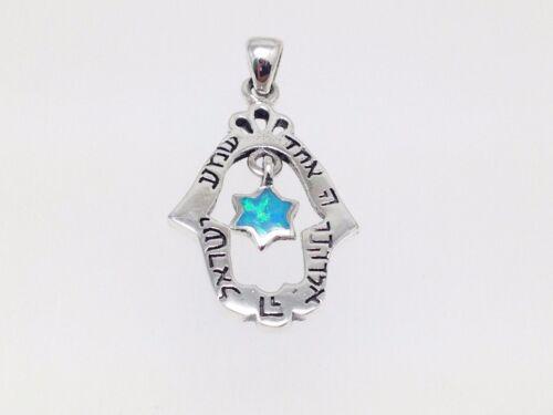 Blue Opal Hamsa David étoile Collier Pendentif Shema Israël Argent Juif Bijoux