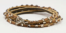 Tan Leather and Swarovski Crystal multi wrap bracelet w/gold crystals