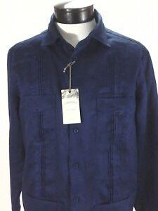 Guayabera-TASSO-ELBA-Navy-Blue-Cuban-Shirt-4-Pockets-100-Linen-Mens-L-79-50