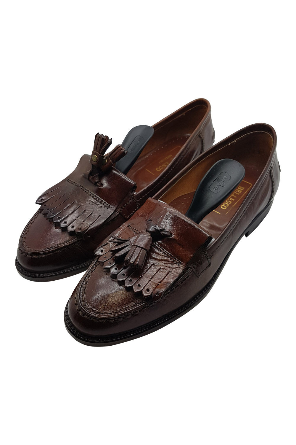 *BELLESCO* ITALIAN BROWN LEATHER SLIP ON SHOES SHOES SHOES (38) 87ebbc