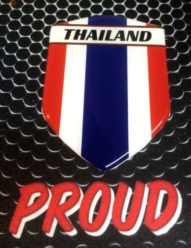 "Thailand ประเทศไทย Proud Shield Domed Decal Emblem Car Sticker 3D 2.3/""x 3.3/"""