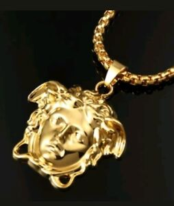 Gold plated medusa face versace style iced out frame pendant image is loading gold plated medusa face versace style iced out mozeypictures Gallery