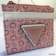 Guess Jeans Card Wallet Handbag Hand Bag Purse Coin  Case Tote Pouch Pink NWT