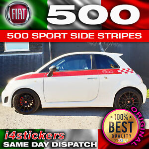Fiat-500-Sport-Bandes-Laterales-a-damiers-STRIPES-DECAL-Kit-Correct-concessionnaire-Spec