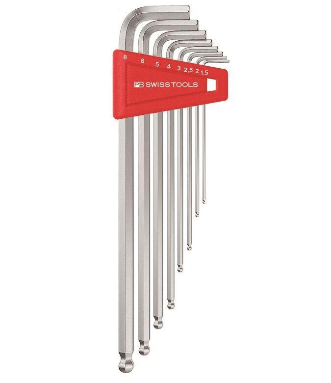 PB Swiss PB 212LH-10 9-Pc Long Chrome Ball point Hex / Allen Key L-Wrench Set