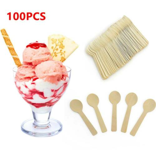 100Pcs Disposable Mini Ice Cream Wooden Spoon Tableware Scoop Dessert