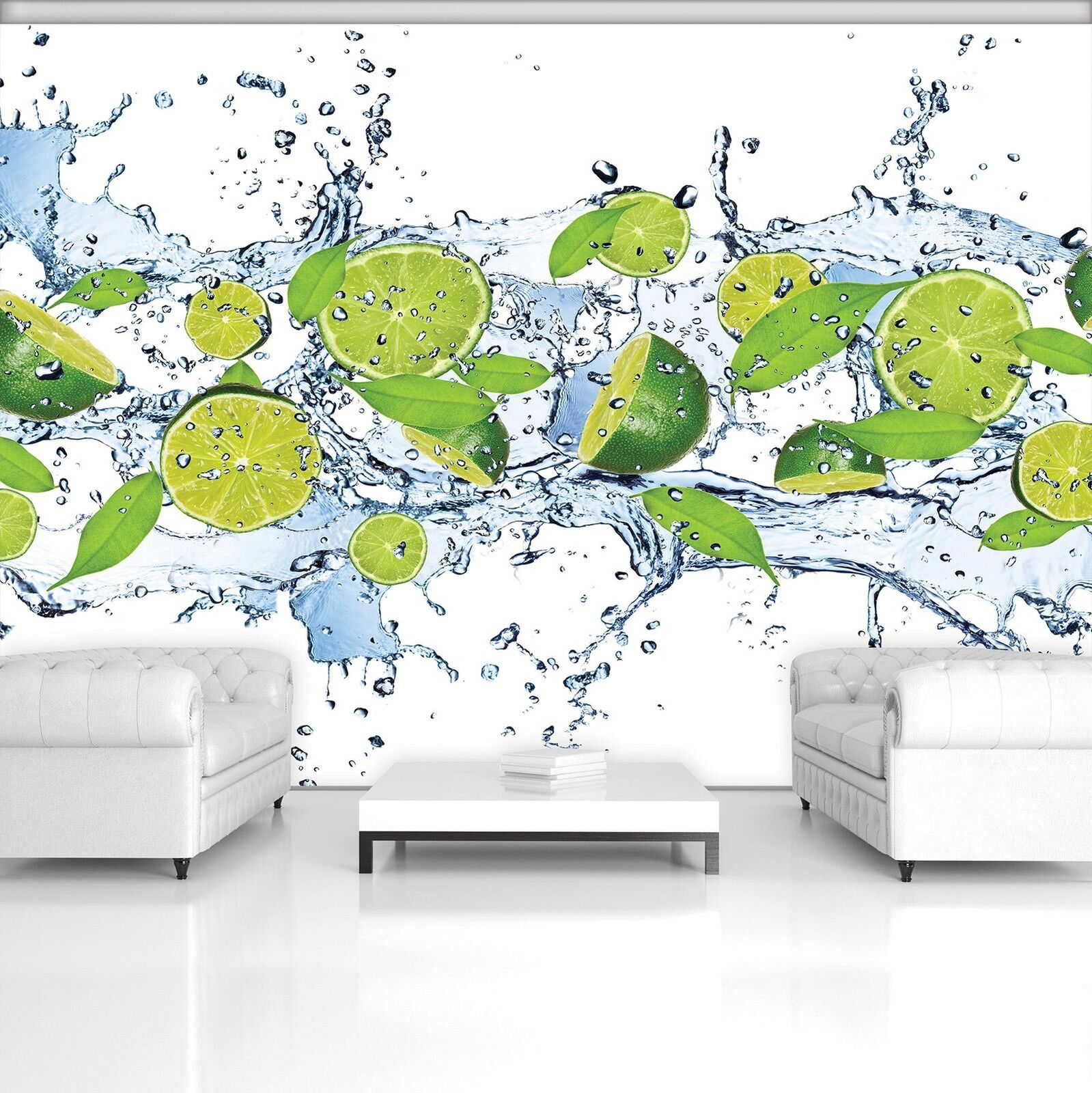 Photo Wallpaper Mural  20229_P Fresh Limes Lime Lemons Green Water Fruit Leaves