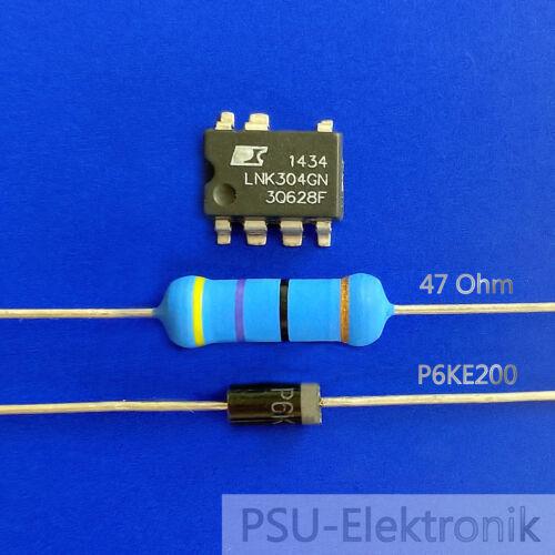 IC LNK304GN Überspannungsschutzdiode P6KE200 Reparaturset Widerstand 47 Ohm