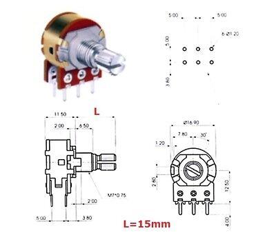 ECC 16mm 100KAx2 potenziometro STEREO LOG 41 MICROSCATTI 4A1, L: 25mm