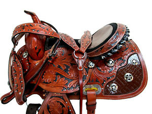 PREMIUM TOOLED LEATHER WESTERN HORSE SADDLE RACING BARREL PLEASURE TRAIL 15 16