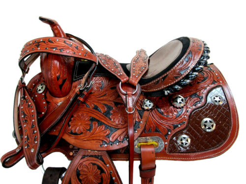 Gaited Selle Western 16 15 Pleasure Show Horse Trail avec outils en cuir Tack Set