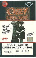 RARE / TICKET DE CONCERT - OZZY OSBOURNE / U.D.O : LIVE A PARIS ( FRANCE) 1989