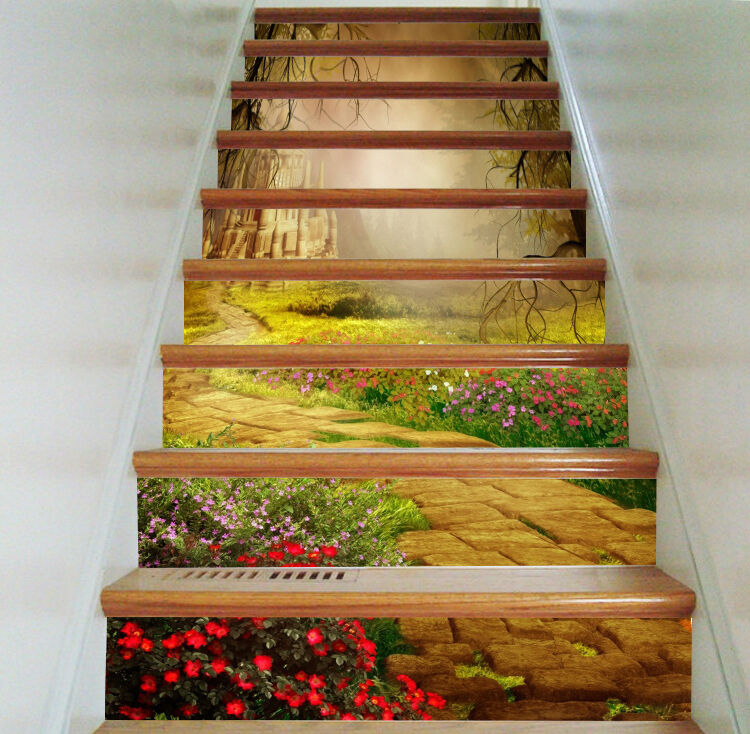 3D Fiore Maniero 6 Stair Risers Dekoration Fototapete Vinyl Aufkleber Tapete DE