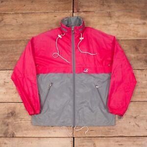 Mens Vintage K Way 1990s Pink Grey Waterproof Raincoat Jacket Medium