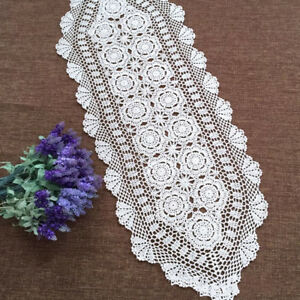 White-Vintage-Table-Runner-Dresser-Scarf-Crochet-Lace-Doily-Wedding-15-034-x59-034-Oval