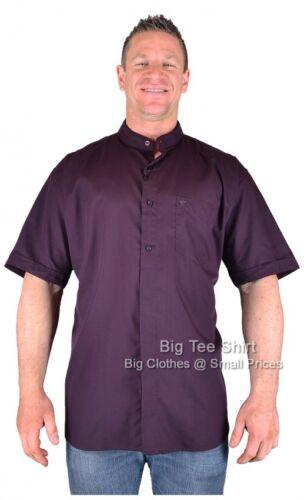 BIG Uomo Melanzana Cotone Valley Davis Grandad camicia 3XL 4XL 5XL 6XL 7XL 8XL