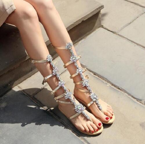 Womens Mid Calf Boots Rhinestones Sandals Flip Flops Casual Flat Roman Slingback