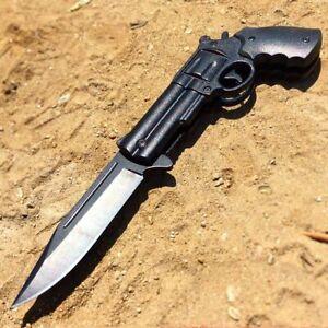 "8"" Hunting BLACK Tactical Assisted Spring HAND Gun Folding Blade Pocket Knife"