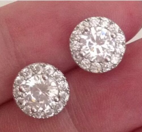 18K White Gold 2.15 carat Diamond Cluster Earrings                   306