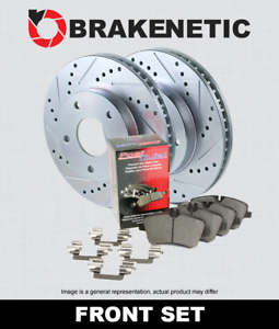 FRONT BRAKENETIC SPORT Drill Slot Brake Rotors POSI QUIET CERAMIC Pads BSK76893
