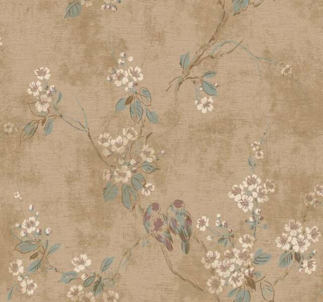 Wallpaper Designer Beige Plum Branch Floral with Birds on Crackle Background