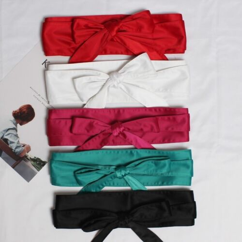 Women Satin Belt Japanese Obi Wide Kimono Waistband Strap Faux Silk Vintage