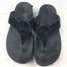 Fitflop Oasis Womens Sandals 8 Black Suede Thong Flip Flops 026-001