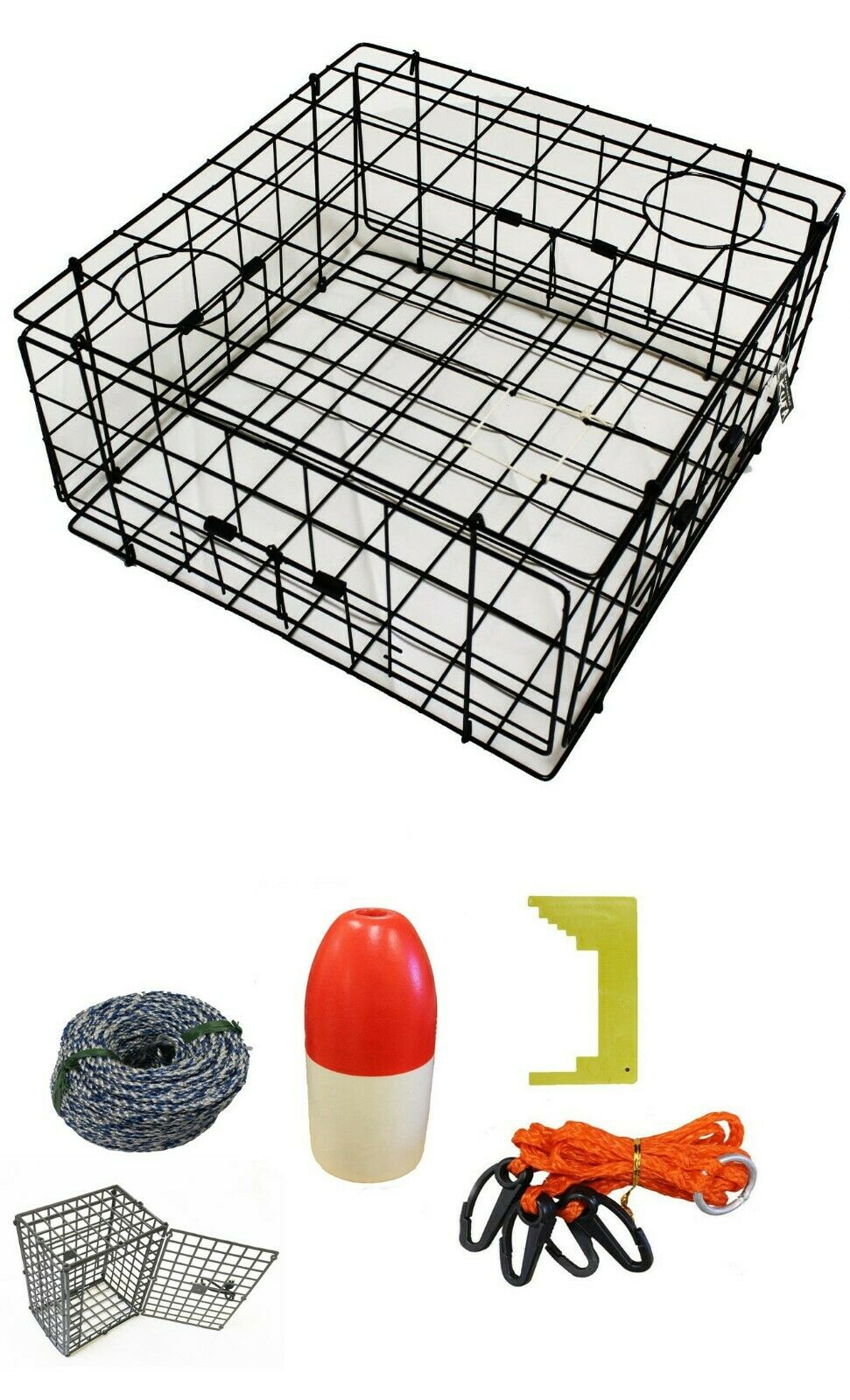KUFA 24x24x12 Vinyl Coated Crab Trap & All Included Accessory kit S60CES1