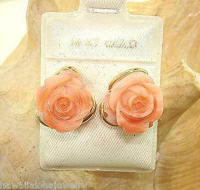 14k Yellow Gold 17.04Ct Pacific Carved Pink Angelskin Coral Rose Flower Earrings