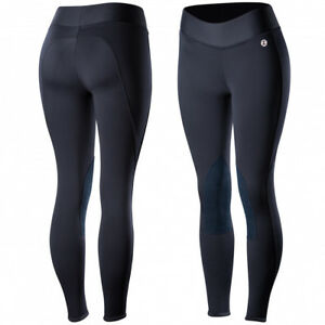 Horze-Active-Women-039-s-Knee-Patch-Winter-Riding-Tights-Low-Midrise-Waist